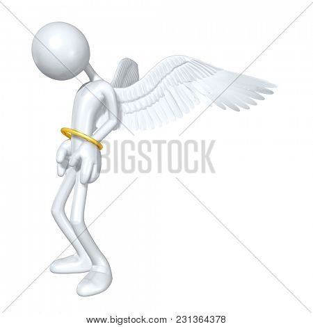 The Original 3D Character Illustration Angel Trapped In A Halo