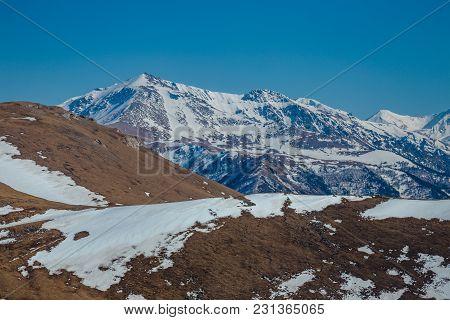 Mountain Landscape, Snowy Peaks, Arkhyz, Caucasian Mountains, Russia.