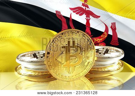 Bitcoin Coins On Brunei's Flag, Cryptocurrency, Digital Money Concept Photo