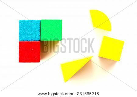 Green, Blue, Red Square Wood Wait To Complete Assemble By Yellow One To Large Square With Another Sh