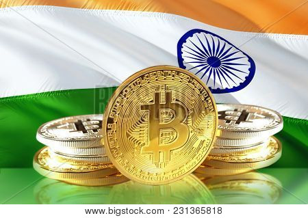 Bitcoin Coins On India's Flag, Cryptocurrency, Digital Money Concept Photo