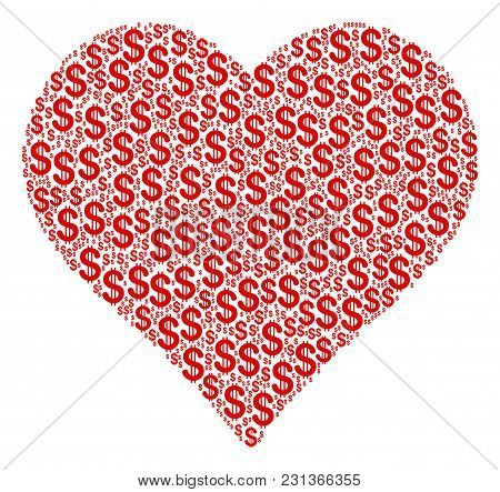 Valentine Heart Collage Of Dollar Symbols. Vector Dollar Currency Pictograms Are Combined Into Valen