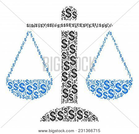 Weight Scales Composition Of Dollar Symbols. Vector Dollar Icons Are United Into Weight Scales Illus