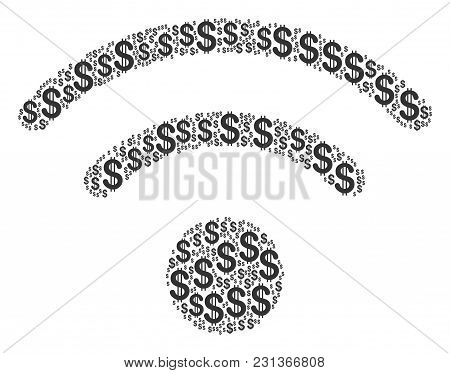Wi-fi Composition Of American Dollars. Vector Dollar Icons Are Grouped Into Wi-fi Illustration.