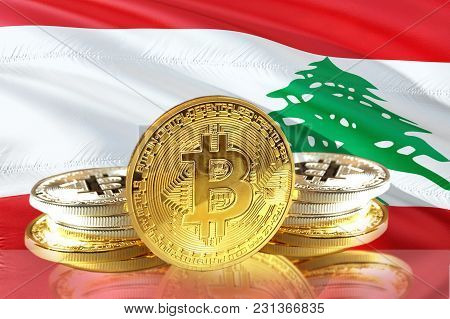 Bitcoin Coins On Lebanon's Flag, Cryptocurrency, Digital Money Concept Photo