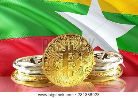Bitcoin Coins On Myanmar's Flag, Cryptocurrency, Digital Money Concept Photo