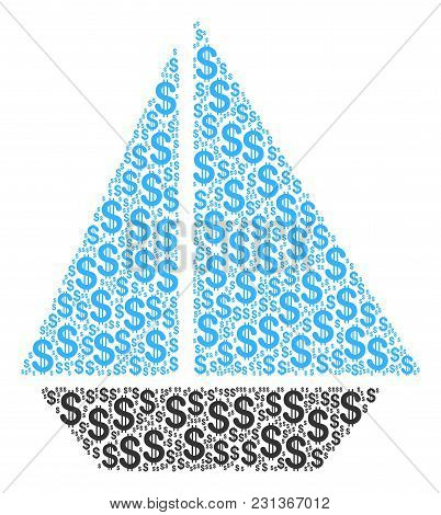 Yacht Collage Of Dollar Symbols. Vector Dollar Currency Icons Are Composed Into Yacht Illustration.