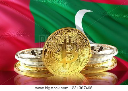 Bitcoin Coins On  Maldives  Flag, Cryptocurrency, Digital Money Concept Photo