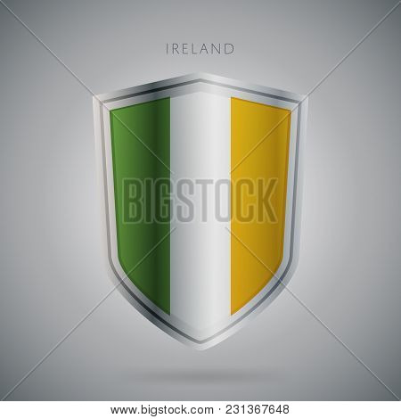 Flags Europe Vector Icon. Ireland Flag, Isolated. Modern Design. National Country Flag. Country Of M