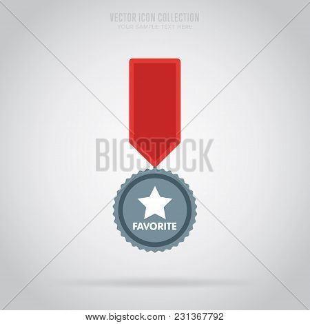 Winner Medal Badge  Isolated Vector In Flat Design Style. Colorful Winner Badge Or Label. First Plac
