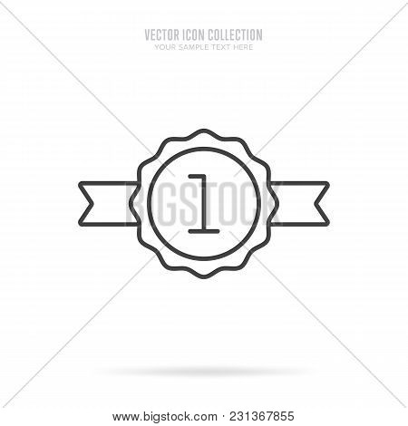 Awar Icon Vector Isolated On White Background. Linear Style. First Place Award.