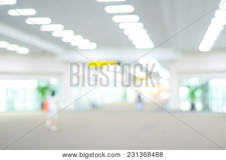 Blurred Airport Terminal With Bokeh Light Background, Transportation Concept