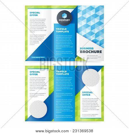 Trifold Business Brochure Design Template. Vector Flyer, Leaflet Or Booklet Design. Tri Fold.
