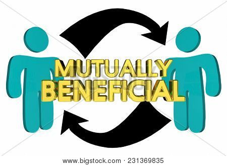 Mutually Beneficial Helping Each Other 3d Illustration