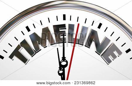Timeline History Order of Events Clock 3d Illustration