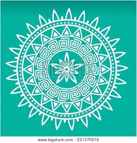 Abstract White Mandala Green Background Vector Image