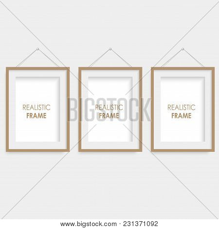 Set Of Brown Square Photo Frames. Vector