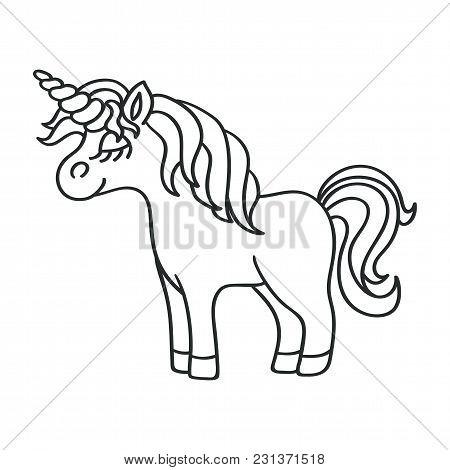 Fantasy Unicorn Black Outline Sketch Icon On The White Background