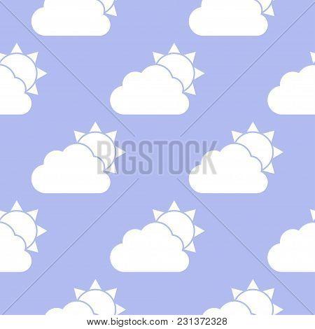 Cloud And Sun Seamless Pattern. Vector Illustration