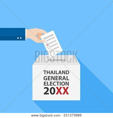 Thai General Election 2018 Hand Putting Voting Paper In The Ballot Box Object Flat Style On Blue Bac