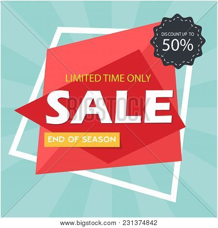 Sale Discount Up To 50% Limited Time Only Vector Image Illustration