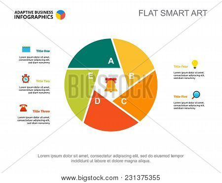 Five Points Process Chart Slide Template. Business Data. Strategy, Plan, Design. Creative Concept Fo