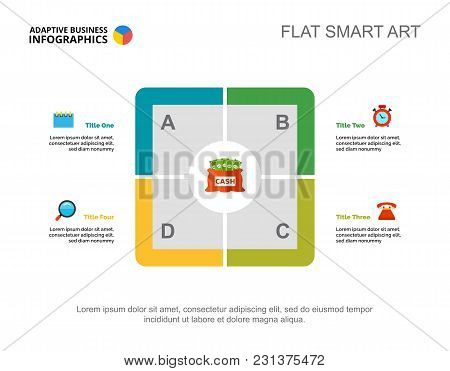 Four Points Process Chart. Business Data. Financial, Money, Design. Creative Concept For Infographic