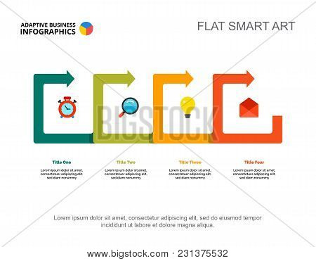 Four Points Process Chart Slide Template. Business Data. Idea, Review, Design. Creative Concept For