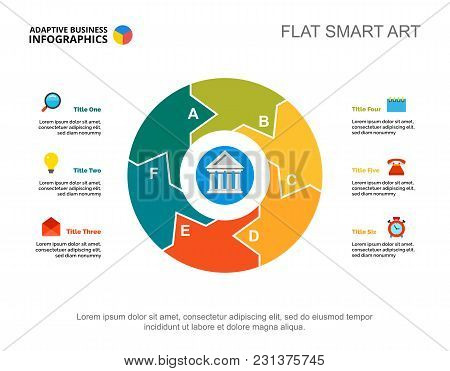 Six Points Process Chart Slide Template. Business Data. Organization, Plan, Design. Creative Concept
