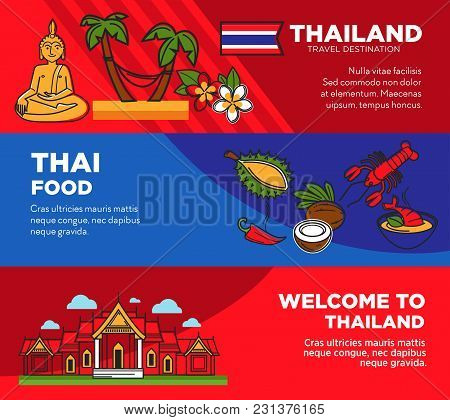 Luxurious Resort In Tropical Thailand Promotional Posters Set. Exotic Food And Famous Attractions On