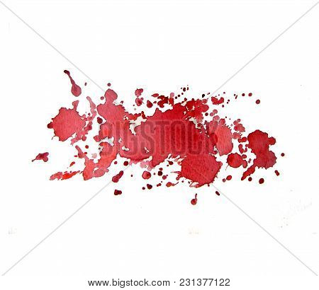 Abstract Spots Red Watercolor On White Background. The Color Splashing In The Paper. It Is A Hand Dr