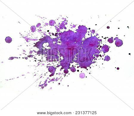 Abstract Spots Ultraviolet Watercolor On White Background. The Color Splashing In The Paper. It Is A