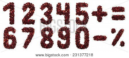Number And Symbol Of Dried Hibiscus Tea Flowers On A White Background. Number And Symbol For Banners