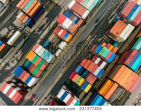 Cargo Containers In The Sea Port Ready For Transportation By Ship