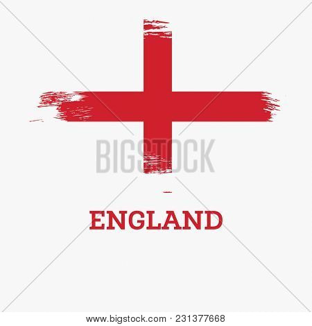 England Flag with Brush Strokes.