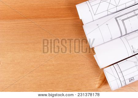Rolls Of Diagrams Or Electrical Construction Drawings For Engineer Jobs, Technology Concept, Copy Sp