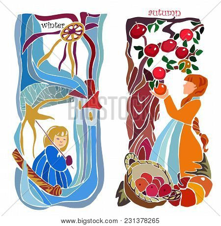 Vector Image Autumn Harvesting And Winter Sledging