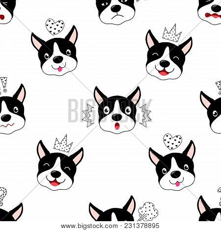 Funny Cartoon Dogs Characters Seamless Pattern. Facial Expression, Vector Illustration Isolated On W