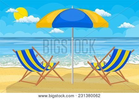 Relaxing Scene On A Breezy Day At The Tropical Beach. Two Deck Chair And Umbrella
