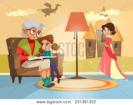 Vector Cartoon Grandmother Reading Fairy Tale Book To Girl Kid Sitting At Armchair. Illustration Eld
