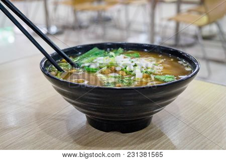 Noodles And Asian Soup In The Real Situation Of The Chinese Fast Food Restaurant.