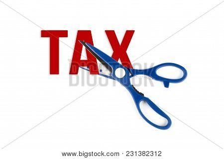 Scissor Cutting Text Of Tax Isolated On White Background.