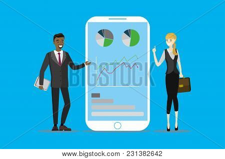 Business Consulting With Mobile Phone, Cartoon Business People, Vector Illustration