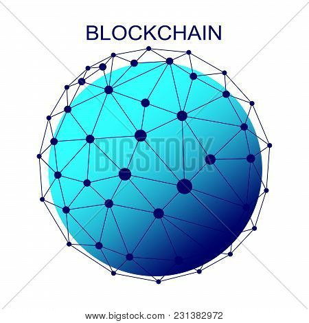 Block Chain Concept. Abstract Network Connection. Design Background And Info Graphic. Vector Graphic
