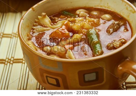 Winter Minestrone - Italian  Soup Close Up