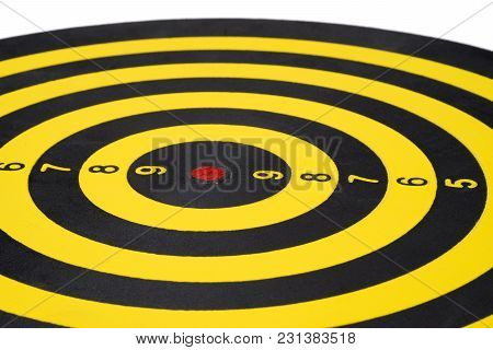 Close Up Of Dartboard On White Background. Business Success Concept