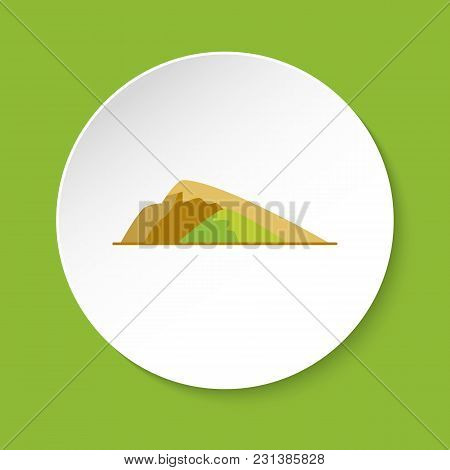 Sloping Hill Icon In Flat Style. Low Mountain Symbol Isolated On Round Button