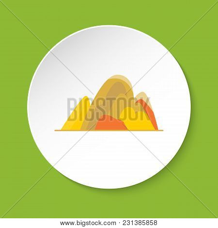 Hill Icon In Flat Style. Colorful Mountain Symbol Isolated On Round Button