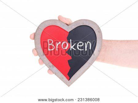 Adult Holding Heart Shaped Chalkboard - Broken