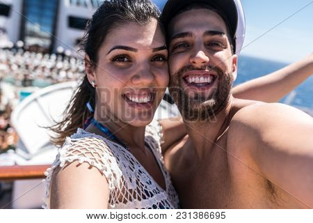 Couple Taking a Selfie on Cruise Ship Vacation
